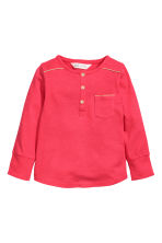 Long-sleeved Henley shirt - Raspberry pink - Kids | H&M CN 2